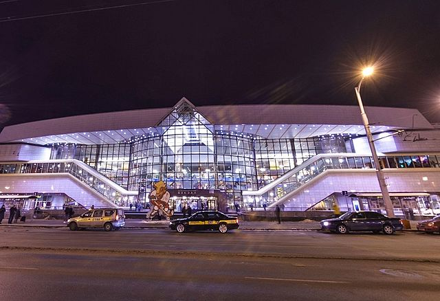 Estación de tren Passazhyrski en Minsk, Bielorrusia
